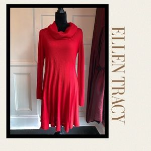 ELLEN TRACY Red Sweater Dress with Cowl Neck